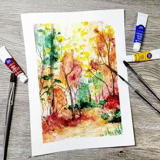 Fall Watercolor Scene