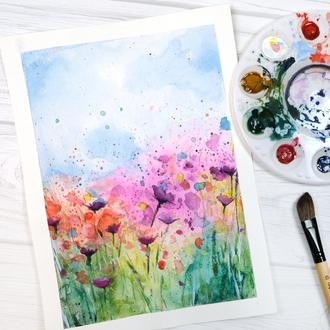 Spring Watercolor Flower Field