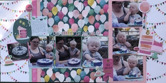 Chevelle's First Birthday/Mar Double Page Layout