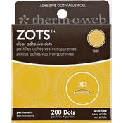 Zots 3-D Clear Adhesive Dots, 200/pkg