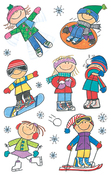 Winter Kids Mini Stickers