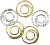 """Gold & Silver Spiral Clips, 1/2"""""""