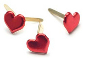 Metallic Red Heart Brads
