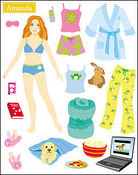 Amanda Dress Up Paper Doll Stickers - Mrs Grossman's