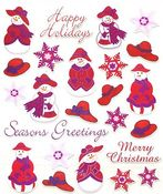 Red Hat Snowlady Stickers