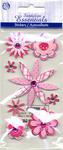 Pink Sketch Flowers Stickers - Sandylion