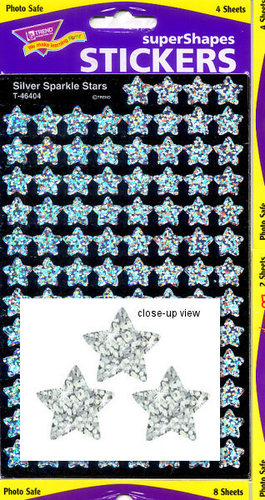 Silver Sparkle Stars Stickers by Trend