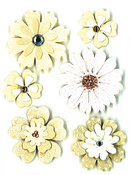 Cream & Sugar Flowers Med. Stickers - Sandylion