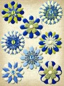 Blue Awning Paper Flower Brads