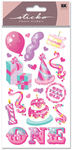 One Year Old Girl Foil Sticko Stickers