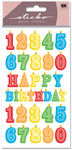 Birthday Number Candles Glitter Sticko Stickers