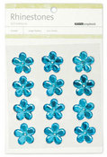 Blue Large Flowers Rhinestones