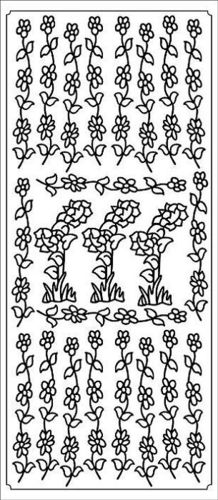 Flower Bunches & Borders Gold Outline Stickers