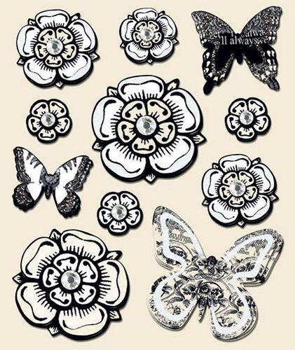 Cream Flowers 3D Stickers