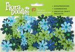 Lt Blue, Dk Blue, Green & Chartreuse Jeweled Florettes