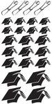Graduation Chipboard Hats Glitter Stickers
