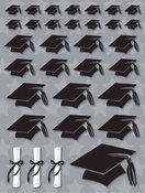 Grad Hats 3D Glitter Stickers