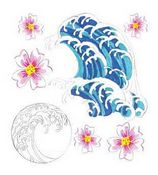 Hibiscus & Waves 3D  Stickers - Jolee's Boutique