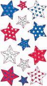 Faceted Patriotic Stars Metallic Sticko Stickers