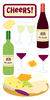 Wine & Cheese Lg 3D Stickers - Sandylion