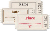 Name, Date, Place Printed Tickets - Jenni Bowlin Studio