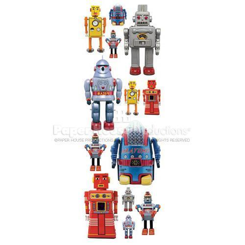 Robots Glitter Rub-Ons - Paper House Productions