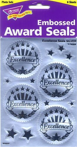 Excellence Silver Embossed Seals Stickers by Trend