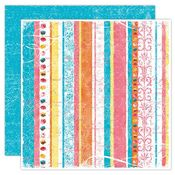 Rainbow Stripe Luster 12x12 Paper