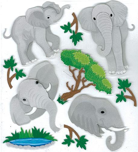 Elephants 3D Stickers - Jolee's Boutique