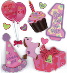 1st Birthday Girl 3D Stickers - Jolee's Boutique