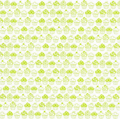 Lime Green On White Sweet Cupcakes Shimmer Paper - Hambly