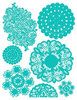 Teal Blue Doilies Rub-Ons by Hambly