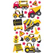 Construction Trucks Zone Epoxy Stickers