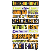 Trick or Treat Phrases Epoxy Stickers