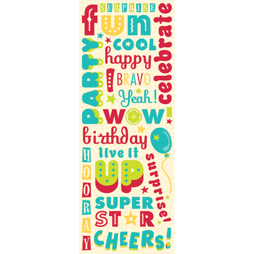 Confetti Birthday Word Glitter Stickers