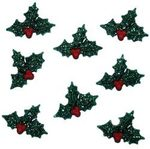 Glitter Holly Christmas Buttons - Dress It Up