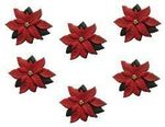 Red Poinsettias Christmas Buttons - Dress It Up