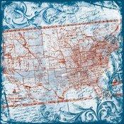 Heartfelt Travel Map Fabric Paper - TPC Studio