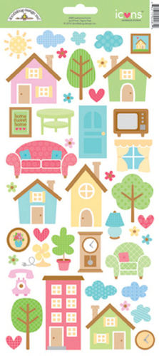 Welcome Home Icon Cardstock Stickers - Doodlebug Design