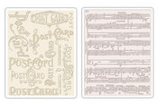 Post Card & Sheet Music Texture Fades Embossing Folders - Tim Holtz