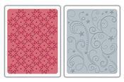 Flowers Stars & Swirls Textured Impressions Sizzix Embossing Folders Set 656458
