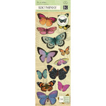 Flora & Fauna Butterfly Adhesive Chipboard Stickers
