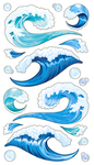 Tsunami Water Waves Sticko Stickers
