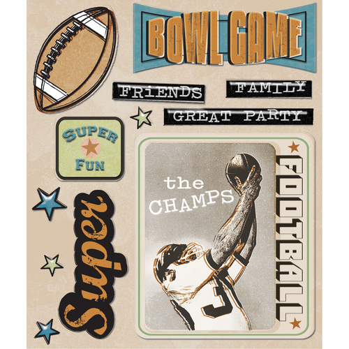 Super Party Football Bowl Game Stickers