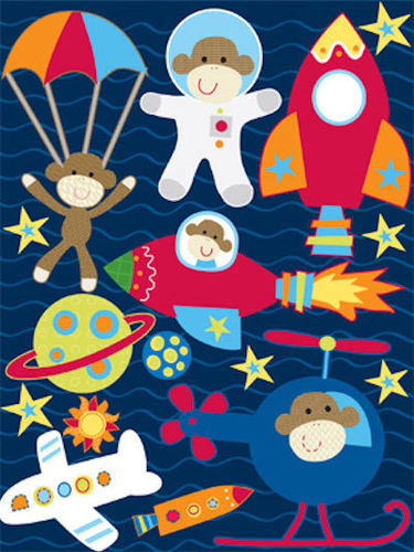 Monkey Adventures Space 3D Stickers - Reminisce