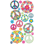 Floral Peace Signs Stickers