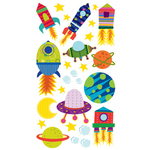 Solar System N Rocket Ship Stickers