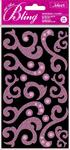 Light Pink Chipboard Flourish Stickers With Gems