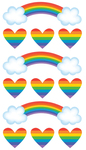 Rainbow And Hearts Foil Stickers By Sticko