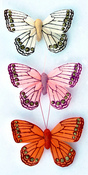 Glitter Butterfly Stickers White, Light Pink And Orange